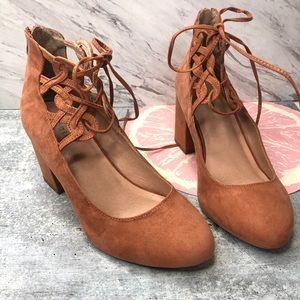 Torrid Lattice Ankle Strap block heel blush 11W